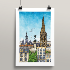 Affiche Bordeaux illustration